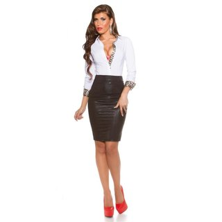 SLIM-FIT LONG-SLEEVED BUSINESS BLOUSE WAISTED WHITE/LEOPARD