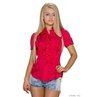 ELEGANT SHORT-SLEEVED BLOUSE WITH SWEET FRILLS RED UK...