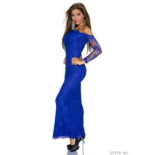 EXCLUSIVE FLOOR-LENGTH COCKTAIL DRESS GOWN MADE OF LACE ROYAL BLUE