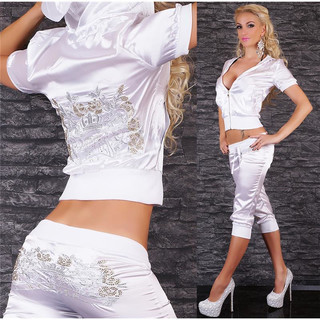 Sexy Redial satin jogging suit leisure suit with embroideries white