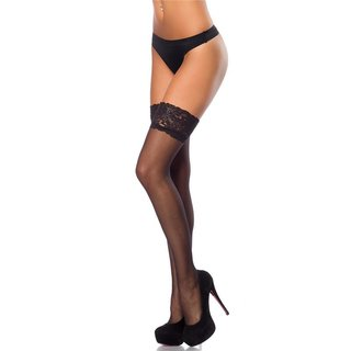 SEXY HOLD-UP NYLON STOCKINGS WITH LACE EDGE BLACK