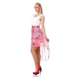 Sweet chiffon mini dress with lace and floral pattern white/coral