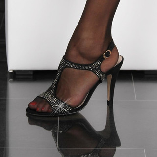 Elegant sandals with metal beads evening shoes black