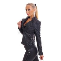 STYLISH BIKER JEANS JACKET WITH LEATHER-LOOK SLEEVES BLACK