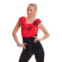SEXY LATINA TOP WITH FRILLS AND LACING RED/BLACK UK 12 (M)
