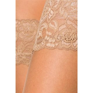 SEXY HOLD-UP NYLON STOCKINGS WITH LACE EDGE NUDE