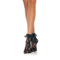 SEXY LEG AVENUE NYLON LACE ANKLETS WITH FRILLS BLACK