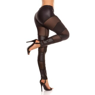 SEXY TRANSPARENT LEGGINGS WITH CHIFFON CLUBBING GOGO BLACK
