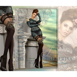 Hold-up Ballerina glamour nylon stockings with lace top black UK 12/14 (L/XL)