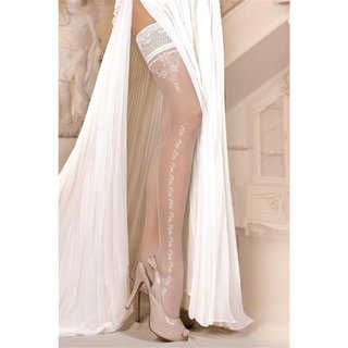 Sexy Ballerina glamour wedding stockings with lace top white
