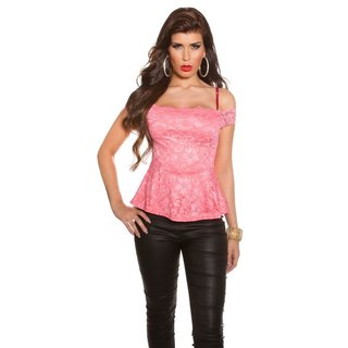 Sexy top in Latina style made of lace with peplum salmon