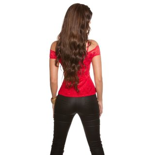 Sexy top in Latina style made of lace with peplum red