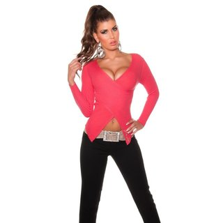 STYLISHER RIPPSTRICK PULLOVER IN WICKEL-OPTIK CORAL