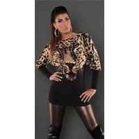 Fleecy fine-knitted sweater with lion image black UK 12/14