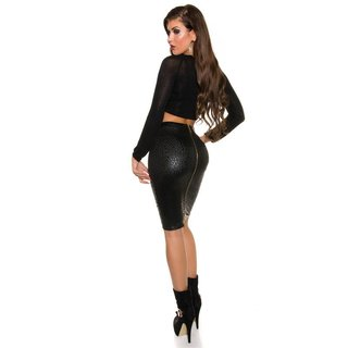 SEXY PENCIL SKIRT IN LEATHER LOOK WITH 2-WAY ZIP LEOPARD BLACK