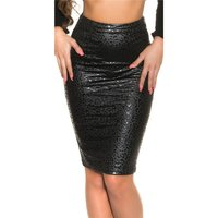 SEXY PENCIL SKIRT IN LEATHER LOOK WITH 2-WAY ZIP LEOPARD...