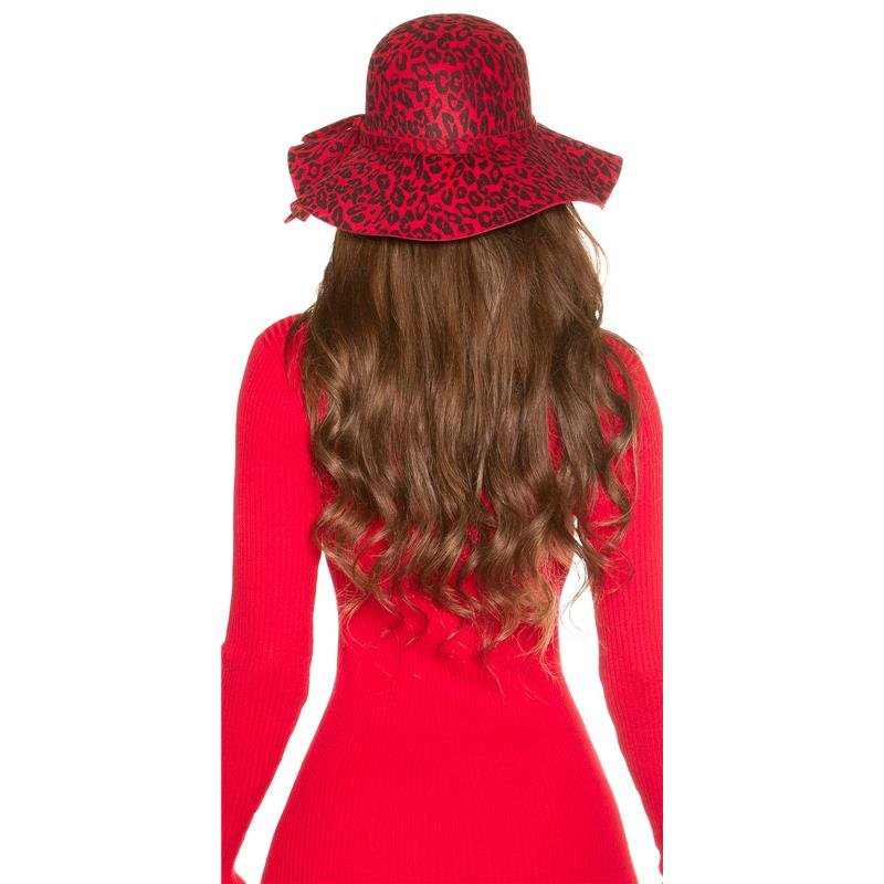 TRENDY FLOPPY HAT IN LEOPARD-LOOK WITH RIBBON 546a239664a