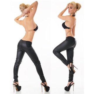 SEXY SKINNY HIGH-WAISTED DRAINPIPE PANTS IN LEATHER-LOOK BLACK