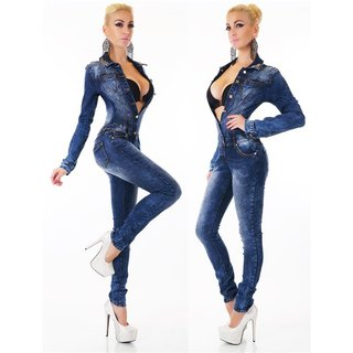 Sexy used look jeans overall jumpsuit slim-fit with rhinestones dark blue