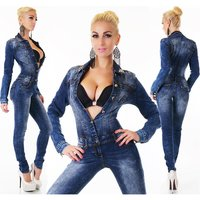 SEXY USED-LOOK LANGARM JEANS OVERALL TAILLIERT MIT STRASS...
