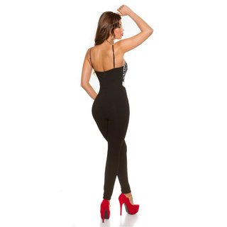 Noble strap overall jumpsuit with fine lace black/white UK 14 (L)