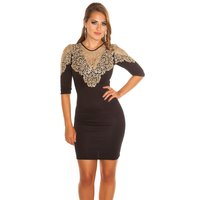SEXY GLAMOUR SHIFT EVENING DRESS WITH EMBROIDERY BLACK/GOLD