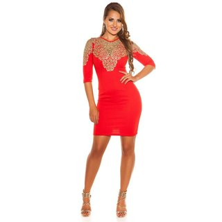 SEXY GLAMOUR SHIFT EVENING DRESS WITH EMBROIDERY RED/GOLD