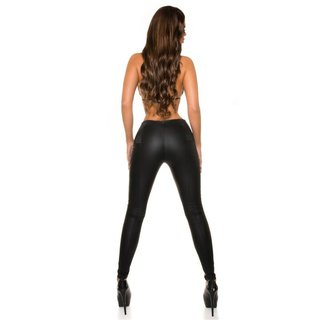 SEXY SKINNY HIGH-WAISTED LEATHER-LOOK DRAINPIPE PANTS BLACK