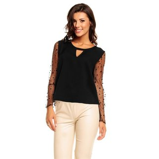 ELEGANT LONG-SLEEVED BLOUSE SHIRT WITH MESHED SLEEVES BLACK