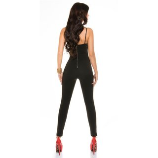 Noble strappy party overall jumpsuit playsuit black UK 10 (S)