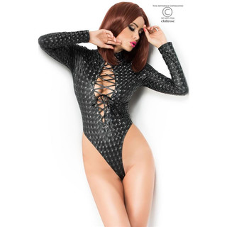 SEXY BODY/TEDDY WITH LACING AND 3D-EFFECT CLUBWEAR GOGO BLACK