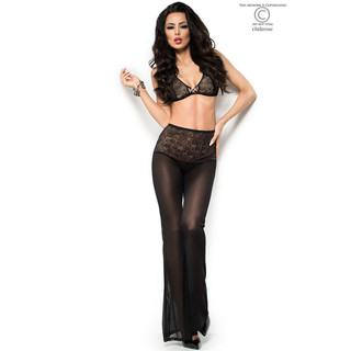 Sexy 3-tlg Set Hose+Top+String transparent Dessous Gogo Schwarz