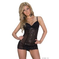 SEXY BABYDOLL NEGLIGEE MIT CUPS + PAILLETTEN INKL. STRING...