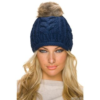 Lined coarse-knitted winter cap bobble hat with fake fur navy