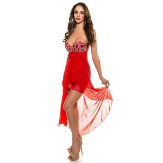 LUXURY COCKTAIL EVENING DRESS MADE OF SATIN WITH CHIFFON VEIL RED