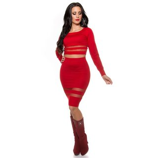 Sexy fine-knitted high-waisted skirt with transparent stripes red