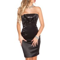 ELEGANT SATIN BANDEAU DRESS SHEATH DRESS WITH SEQUINS BLACK