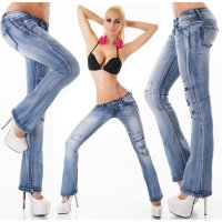 SEXY 5-POCKET DESTROYED BOOTCUT JEANS IM USED-LOOK BLAU...