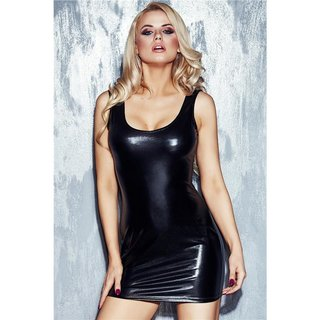 Sexy clubbing mini dress with lacing wet look gogo fetish black