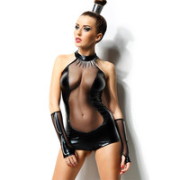 SEXY 2-TLG WETLOOK BODY LATEX-LOOK GOGO CLUBWEAR SCHWARZ