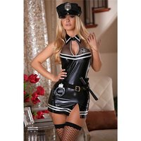 SEXY 7 PCS POLICE OUTFIT STRIPPER SET GOGO WET LOOK BLACK
