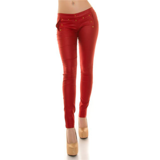 Sexy Skinny Treggings Hose in Leder-Look mit Schnürung Rot