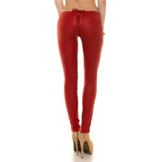 SEXY SKINNY TREGGINGS PANTS IN LEATHER-LOOK WITH LACING RED
