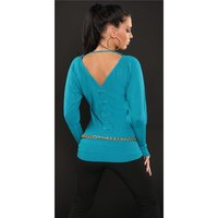 ELEGANT FINE-KNITTED SWEATER WITH BATWING SLEEVES...