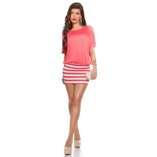 Sexy summer mini dress with stripes and open sleeves coral