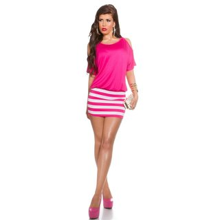 Sexy summer mini dress with stripes and open sleeves fuchsia