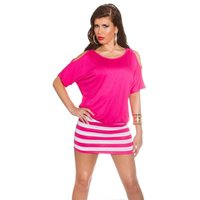 SEXY SUMMER MINIDRESS WITH STRIPES AND OPEN SLEEVES FUCHSIA
