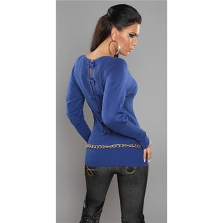 ELEGANT FINE-KNITTED SWEATER WITH BOWS AT THE BACK ROYAL BLUE