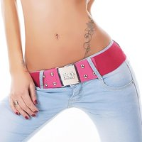 ELEGANT LADIES´ STRETCH BELT WITH GOLDEN BUCKLE FUCHSIA