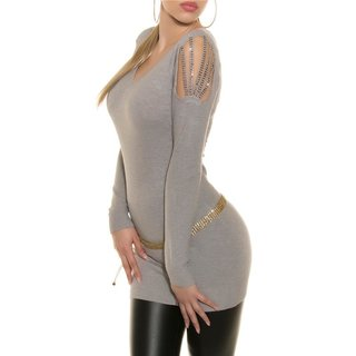 ELEGANT FINE KNITTED LONG SWEATER WITH RHINESTONES GREY